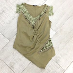 Tops - Military inspired olive green asymmetrical top
