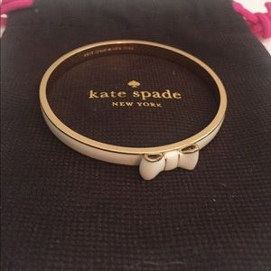 kate spade Jewelry - NWOT Kate Spade white and gold bow Bangle