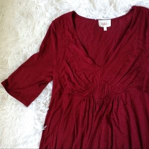 ANTHROPOLOGIE maroon 3/4 sleeve v-neck top