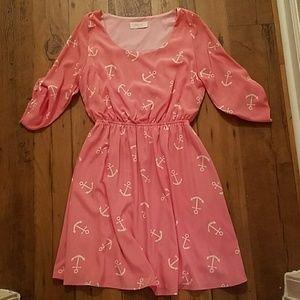 Peach Love California  Dresses & Skirts - NWOT pink anchor summer dress size M