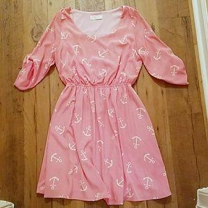 Peach Love California Dresses & Skirts - 🍍NWOT pink and white anchor summer mini dress