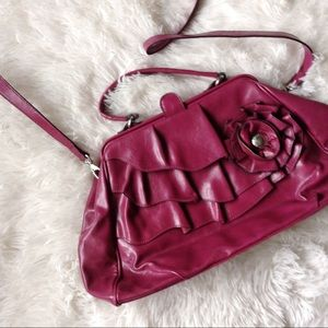 NICOLE magenta ruffled front cross-body bag