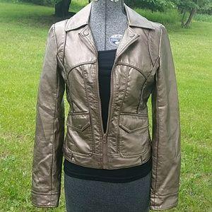 Bernardo Jackets & Blazers - Bernardo Metallic vegan leather moto jacket