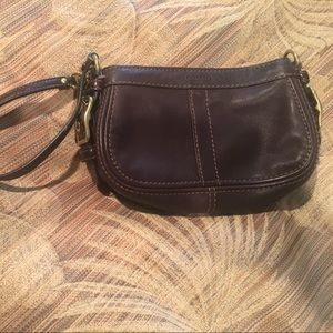 """Coach"" Brown leather wristlet"