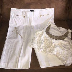 Alfani Pants - White Gold accented shorts