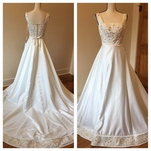 Mori Lee Dresses & Skirts - Mori Lee embroidered champagne wedding dress