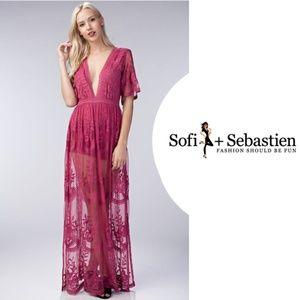 6889107c0b6 Sofi + Sebastien Dresses - LAST ONE! Plunge neck lace maxi dress romper