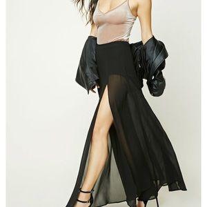 Sheer black maxi skirt