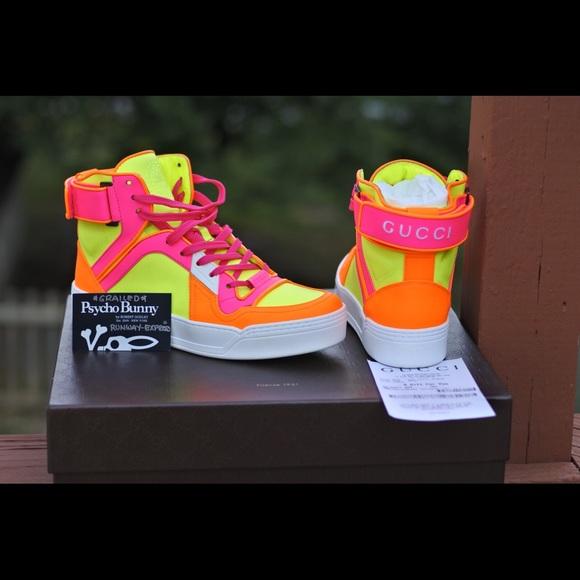 9f4773565 Gucci Shoes | White Neon Pink Orange Leather Gg Sneakers | Poshmark
