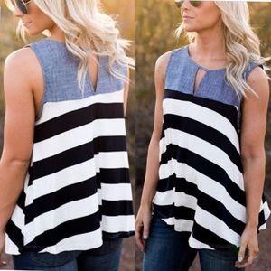 ⭐️Summer Clearance⭐️  Small Denim & Stripes Top