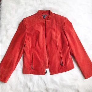 Valerie Stevens Jackets & Blazers - Valerie Stevens Suede Leather Orange Jacket