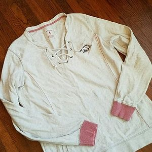 Antigua Tops - Arkansas Razorback lace up grey sweatshirt  L