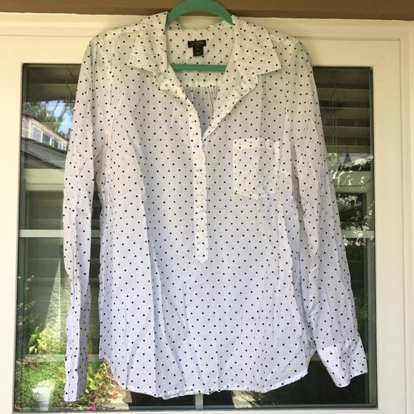 J. Crew Tops - White Polka Dot Collared Popover Shirt
