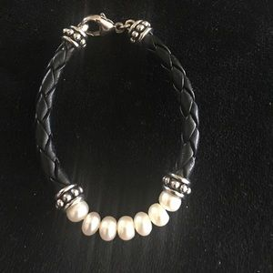Honora Jewelry - Honora black leather & freshwater pearl bracelet