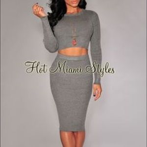 Dresses & Skirts - Grey 2 piece set crop top and pencil skirt set