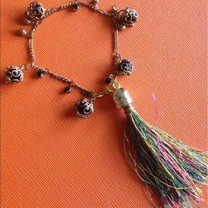 Colorful beaded tassel bracelet