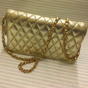 Envelope metallic gold leather purse/clutch