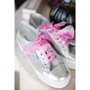 Superga Shoes - Superga Platform Silver Mesh Leather Sneakers EUC