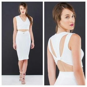 Dresses & Skirts - White Crop Top & Skirt Sexy Bodycon Set
