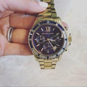 MICHAEL KORS Blue Face Gold Watch