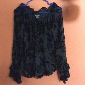 Anne Carson Tops - Anne Carson crushed velvet black top
