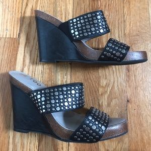 Me Too Shoes - Black Studded Wedges by Me Too