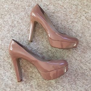 Nine West Dark Nude Platform Pumps