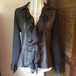 Tops - NWT Sexy Ruffle Hidden Button Down Shirt
