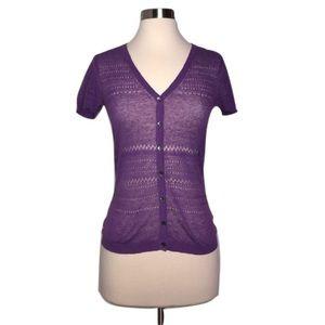 Trina Turk Sweaters - Trina Turk Sz S Purple Knit Short Sleeve Cardigan