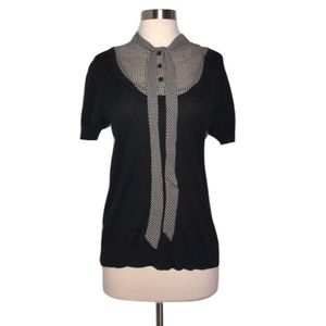 Trina Turk Tops - Trina Turk Black Tie Silk Cotton Short Sleeve Top