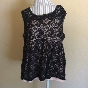 Hot Black Lace Sleeveless Top Shirt