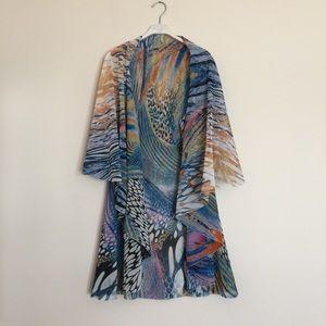 Sweaters - Multi colored draping shawl wrap cardigan OS