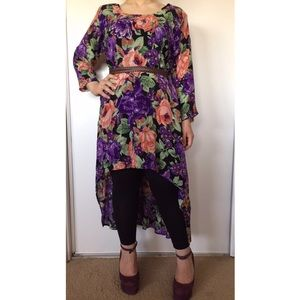 Vintage 80s Floral Asymmetrical High Low Dress