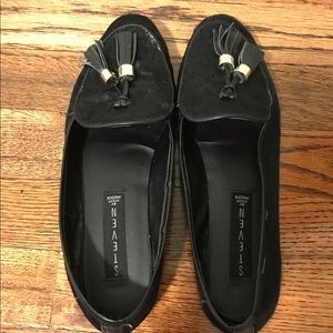 Black Steve Madden faux pony hair loafers