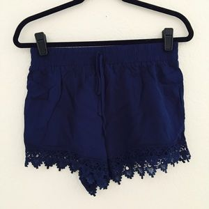 Ambiance Apparel Pants - Ambiance | Navy Blue Lace Shorts