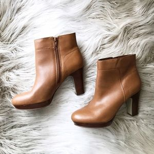 Nine West Shoes - Nine West Cognac leather Heeled Ankle Booties