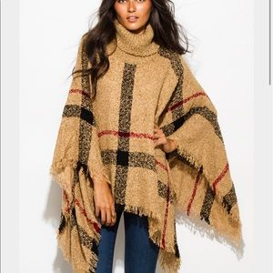 Accessories - Camel knit poncho.