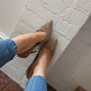 Shoes - Light Gray Suede Pointed Pumps US 8
