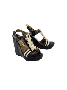 Cynthia Vincent- Black Leather & Rope Strap Wedges Sz 7