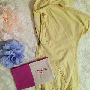 Aerie Short Sleeve Zip Up Soft Yellow Hoodie