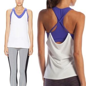 Ellie Tops - Ellie white purple crisscross draping workout tank