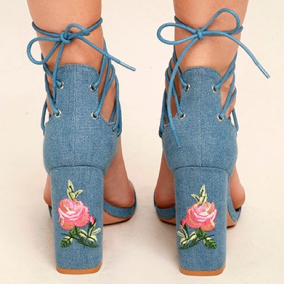 3c3bf50d2078 Fashion Nova Shoes - Blue Denim Lace Up Chunky Floral Embroided Heels