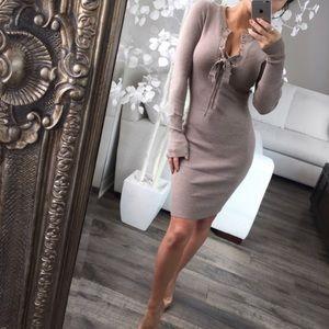 Lace Up Long Sleeve Dress
