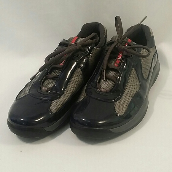 d7f520b9 Men's Blue Patent Leather Prada Sneakers