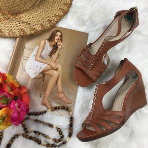 Adrienne Vittadini Shoes - Adrienne Vittadini Brown Boho Strappy Wedge Sandal