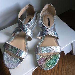 Forever 21 hologram silver gladiator sandals 7
