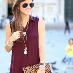Moon Collection Tops - Burgundy Button Down Sleeves Shirt