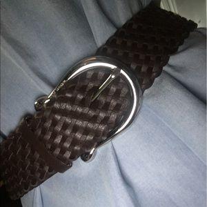 Michael Kors brown leather braided belt sz small