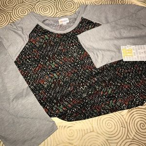 BNWT lularoe 3xl Randy ⚾️ tee gray w/black pattern