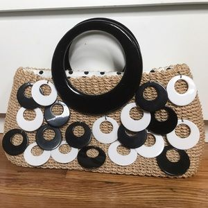 Hype Handbags - Mod Straw Bag with Dangling Discs by Hype